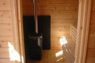 Innenansicht: Saunaofen für Holzfeuerung.