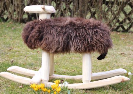Schaukelschaf - Handgefertigte Holzschafe mit echtem Schafsfell