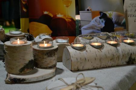 Kerzenuntersetzer aus Birke